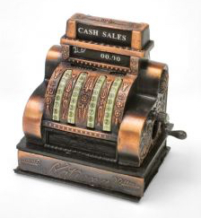 doing business online with antique cash register