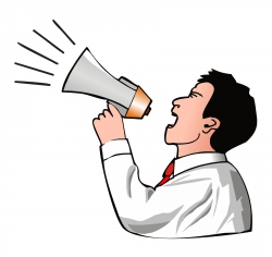man with a megaphone promoting small business